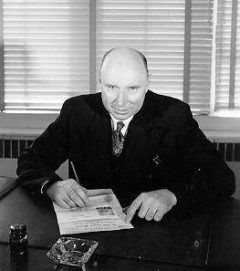 Professor Gordon Shrum in 1951. He announced plans for UBC's first radio studio in 1937. Photo courtesy UBC Library Archives.