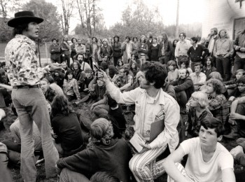 1968-69 Hey, man, I'll tell you what it's all about. A protester explains things at the Faculty Club. (UBC Archives)