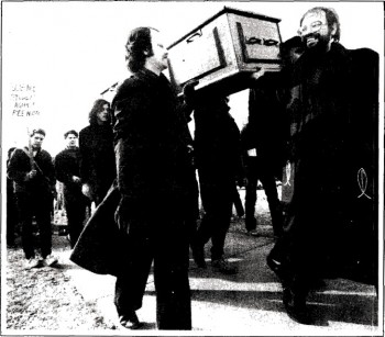 1983-84 Protesters hold a mock funeral to mourn the death of education. (The Ubyssey)