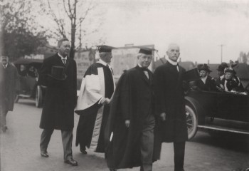 Wesbrook (second from left) and UBC board member Robert McKechnie (second from right), later Chancellor, at a public event – likely UBC's first graduation in 1916.