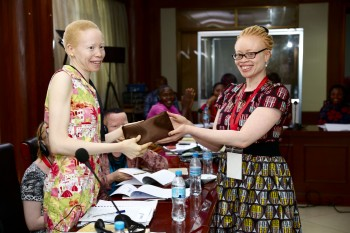 Ero at a 2016 advocacy-training workshop in Tanzania for women with albinism and mothers of children with albinism.
