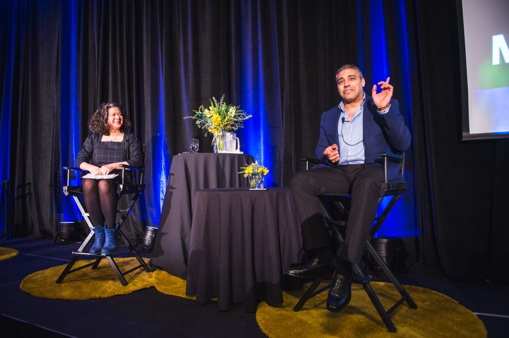 Mohamed Fahmy spoke with CBC's Margaret Gallagher at the Robert H. Lee Alumni Centre in January. (Photo: Varun Saran)