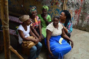 Fatou Wurie with Ebola survivors after a bi-weekly psychosocial with women of The Survivor Dream Project.