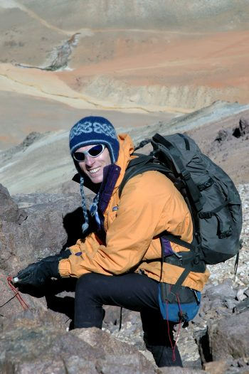 Holm assessing terrain and geohazards at 4,500M in the Chilean Andes.