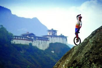 Kris Holm riding in Bhutan