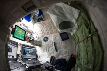 "NASA astronaut Scott Kelly shows off his personal living quarters on the ISS. Scott tweeted this image with the comment: ""My #bedroom aboard #ISS. All the comforts of #home. Well, most of them. #YearInSpace"". Image credit: NASA"