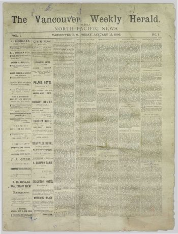 The Vancouver Weekly Herald and North Pacific News - January 15, 1886 Preview (PDF)