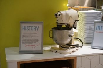 This is the very same mixer Grace Hasz used to develop her cinnamon bun recipe. Now it's an irreplaceable UBC artefact.