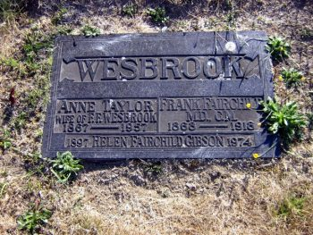 Wesbrook's Grave (Image courtesy of Mountain View Cemetary)