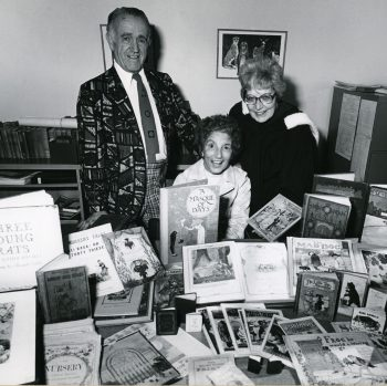 Stan and Rose Arkely pictured in 1979 with Sheila Egoff (R), who was a founding faculty member of UBC's library school (now the School of Library, Archival and Information Studies) and an expert in children's librarianship and children's literature.