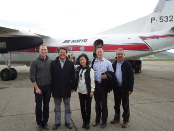 Professor Park and colleagues arriving in Pyongyang in May 2014, after visiting Special Economic Zones throughout the country.