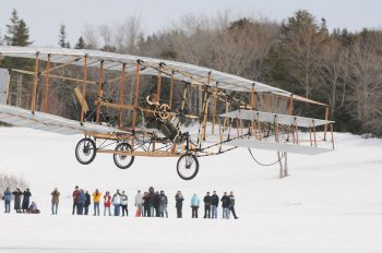 In 2009, Tryggvason flew a replica of the Silver Dart to mark the centennial of the first flight in Canada and the British Empire. Photo: Vaughan Merchant