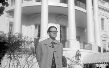 Matthews outside the White House, aged 14.