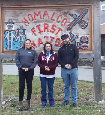 Students Iain Marjoribanks and Rachel Wuttunee with Homalco First Nation community liaison Jeannie Hill.